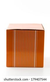 Orange box isolated white background
