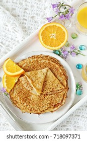 Orange breakfast pancakes