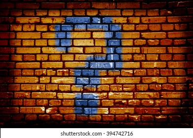Orange brick wall with question