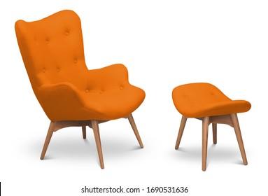 Orangefarbener Sessel und kleiner Sessel für Beine. Moderner Designer-Sessel auf weißem Hintergrund. Textilsessel und -stuhl. Möbelserie