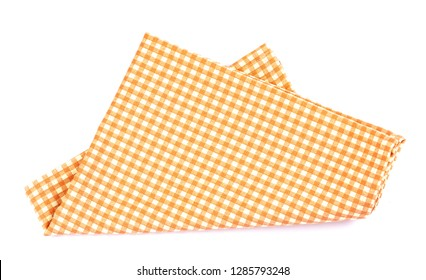 a orange brown checkered napkin table clothes  on white background.