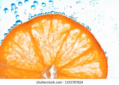 orange with bubbles isolated on white