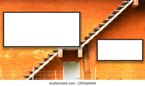 Orange building and Fire escape stairs on the outside .empty white billboard .Blank space for text and images.