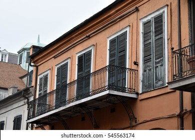 Orange building - French Quarter, New Orleans, LA, USA