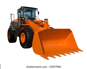 Orange bulldozer isolated on white with clipping path