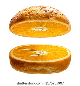 Orange in burger bread in concept of creative food isolated on white background with clipping path