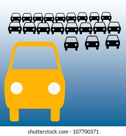 orange bus in crowded parking lot carpool illustration