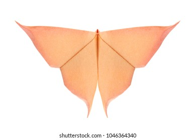 Orange butterfly of origami, isolated on white background.