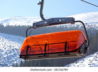 Orange cableway in ski resort Jasna - Low Tatras mountains, Slovakia