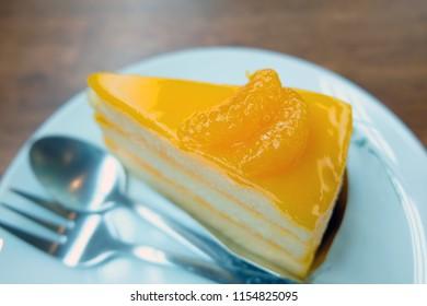 Orange cake close up