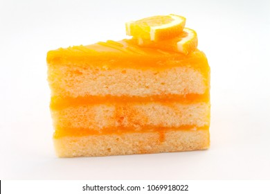 orange cake isolated on white background