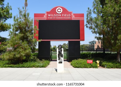 ORANGE, CALIFORNIA - AUGUST 27, 2018: Wilson Field at Chapman University is home to the football,  soccer and club lacrosse teams, as well as the intramurals program.