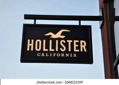 Orange, California - January 11, 2018:  Sign of Hollister in front of the store.