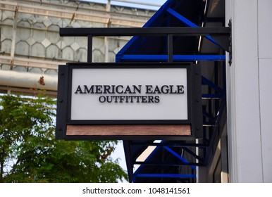 Orange, California - January 11, 2018:  Sign of American Eagle Outfitters in front of the store.