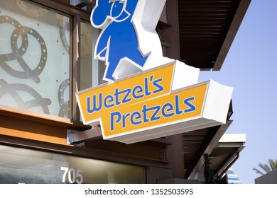 Orange, California/United States - 03/25/19: A store front sign for the snack shop known as Wetzel's Pretzels