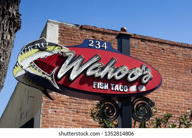 Orange, California/United States - 03/25/19: A store front sign for the fish taco restaurant known as Wahoo's