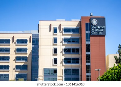 Orange, California/United States - 04/03/19: A building and sign for the hospital known as UC Irvine Medical Center