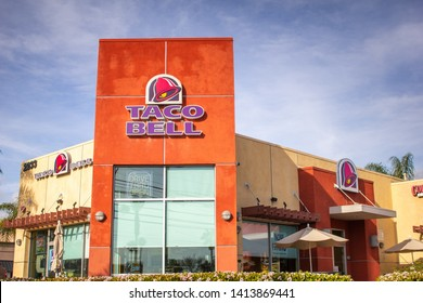 Orange, California/United States - 04/03/2019: A store front sign for the Tex Mex restaurant chain known as Taco Bell