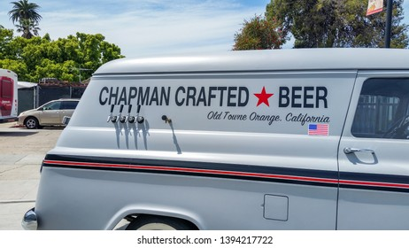 Orange, California/United States - 04/15/2019: A sign on the side of a prop van for Chapman Crafted Beer