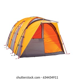Orange Camping Tent Isolated on White Background. Dome Tent on Clipping Path. Camping Equipment