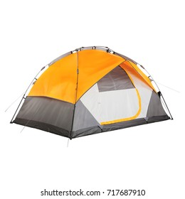 Orange Camping Tent Isolated on White Background. Dome Tent on Clipping Path. Camping Equipment. Person Tent. Alpine Tent
