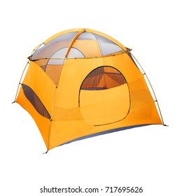 Orange Camping Tent Isolated on White Background. Dome Tent on Clipping Path. Camping Equipment. Person Tent. Alpine Tent. Trail Tents