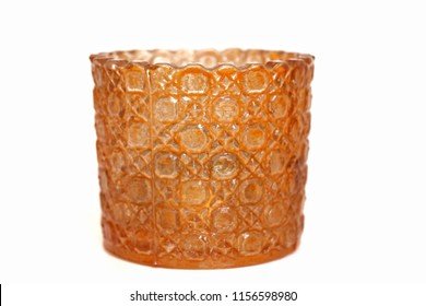 Orange candle holder Placed on a white background.