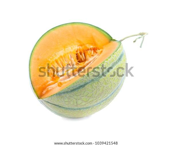 Orange cantaloupe melon isolated on white