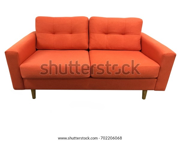 Orange canvas couch isolated on white background