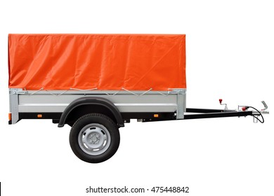 Orange car trailer, isolated on white background.