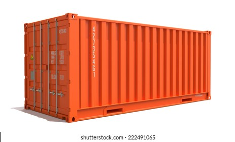Orange Cargo Container Isolated on White Background.  Shipment Concept.