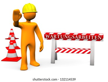 "Orange cartoon character on site with german text ""Wartungsarbeiten"" translate ""maintenance""."