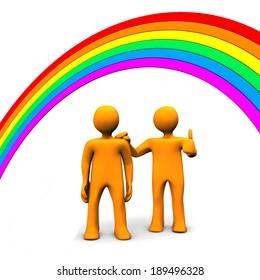 Orange cartoon character runs away from rainbow. White background.