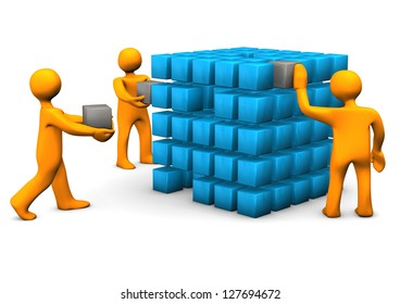 Orange cartoon characters with cubes. White background.