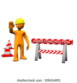 Orange cartoon characters with helmet on the construction site.