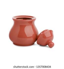 Orange ceramic jar with lid on a white background