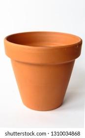 Orange Ceramic Pot On White Background.