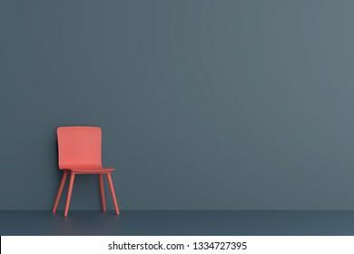 orange chair in dark blue living room. Minimal style concept.