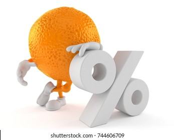 Orange character with percent symbol isolated on white background. 3d illustration