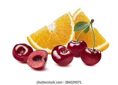 Orange cherry berry composition isolated on white background as package design element