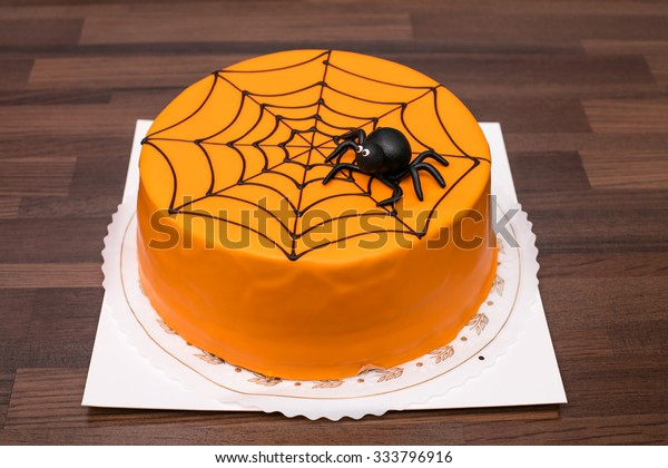 Awesome Orange Childrens Birthday Cake Black Spider Stock Photo Edit Now Funny Birthday Cards Online Barepcheapnameinfo