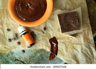 Orange and chocolate baking ingredients