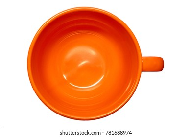 Orange circle top view isolated on white background