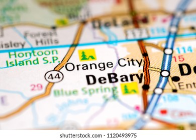 Orange City. Florida. USA on a map