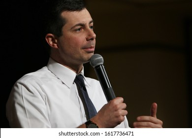 Orange City, Iowa - January 16, 2020:  Pete Buttigieg, Democratic presidential candidate, speaks to the crowd at a political rally.