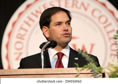 ORANGE CITY, IOWA - OCTOBER 30, 2015: Presidential Candidate, Senator Marco Rubio of Florida, addresses the crowd at a Republican political rally.