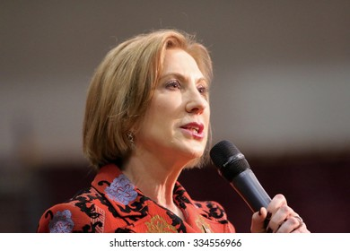 ORANGE CITY, IOWA - OCTOBER 30, 2015: Presidential Candidate, Carly Fiorina, addresses the crowd at a Republican political rally.
