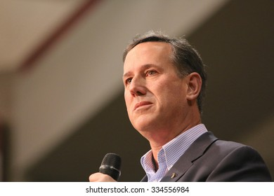 ORANGE CITY, IOWA - OCTOBER 30, 2015: Presidential Candidate, Rick Santorum, addresses the crowd at a Republican political rally.  Santorum is the former senator of Pennsylvania.