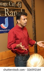 ORANGE CITY, IOWA - OCTOBER 9, 2015: Presidential candidate, Bobby Jindal, speaks to the public at a campaign stop in Iowa.  Jindal is currently the governor of Louisiana.