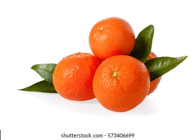 Orange Clementines, tangerines or mandarines isolated on white background